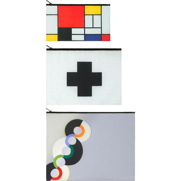 22a872c190aae Saszetki Zip Pockets Museum 3 szt. Mondrian - Kosmetyczki marki LOQI ...