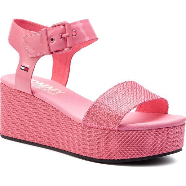 7594f152fd594 Sandały TOMMY JEANS - Material Mix Flatform Sandal EN0EN00561 ...